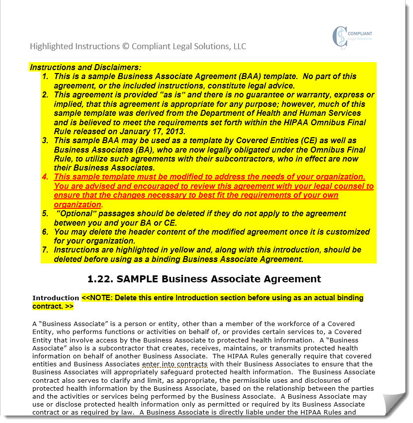 Free Business Associate Agreement Form Template Hipaa And